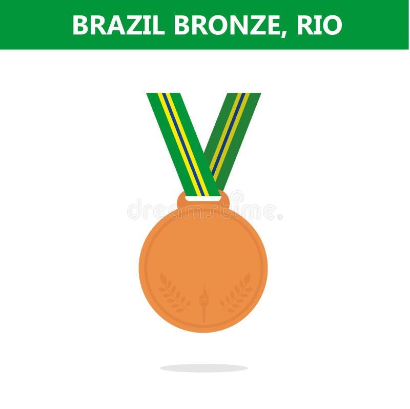 铜牌 面包渣 里约 奥运会2016年 也corel凹道例证向量 库存例证