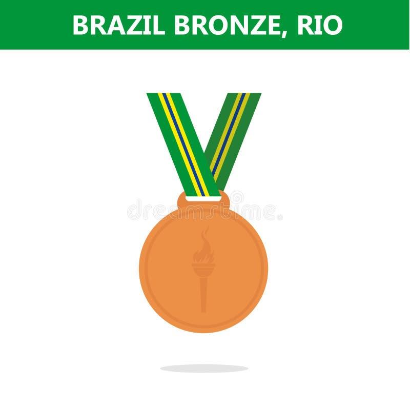 铜牌 面包渣 里约 奥运会2016年 也corel凹道例证向量 皇族释放例证