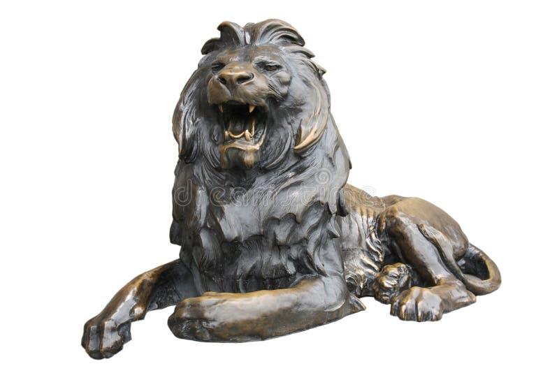 铜狮子雕塑 图库摄影