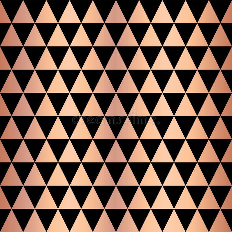 铜箔三角几何无缝的传染媒介样式 在黑背景的罗斯金发光的三角形状 典雅为网 向量例证