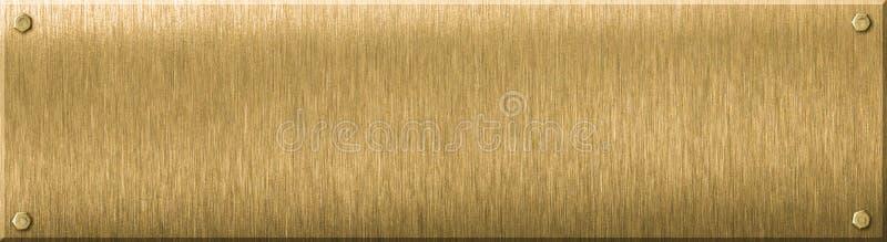 黄铜金属匾或板材3d例证 向量例证