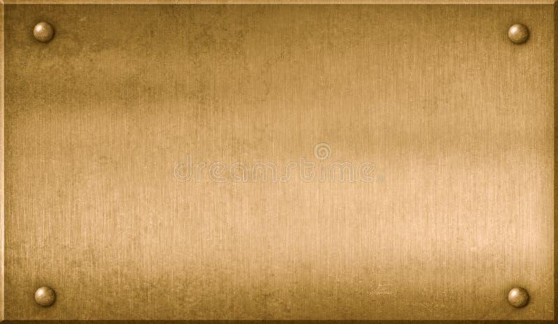 黄铜金属匾3d例证 皇族释放例证