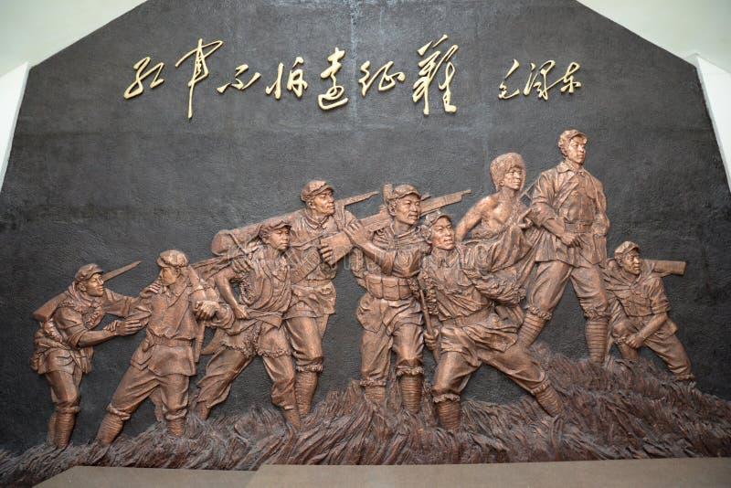 铜雕象 红军,中国的长的行军 免版税库存照片