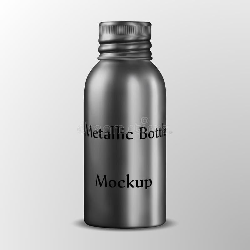铝化妆包装金属瓶,金属储藏盒,有铝螺帽的精油瓶 向量例证