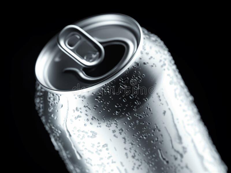 铝啤酒或汽水罐与小滴在黑背景,3d翻译 库存图片