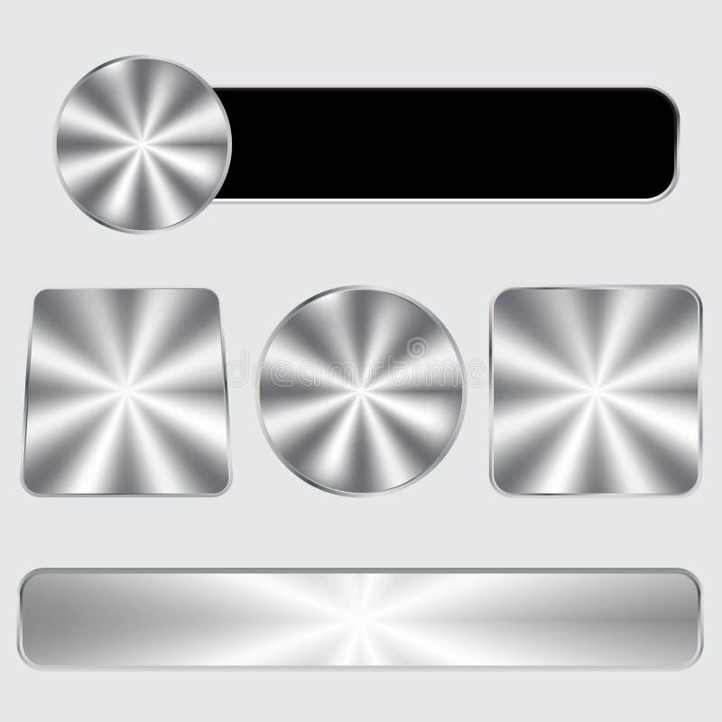 铝按钮集合 向量例证
