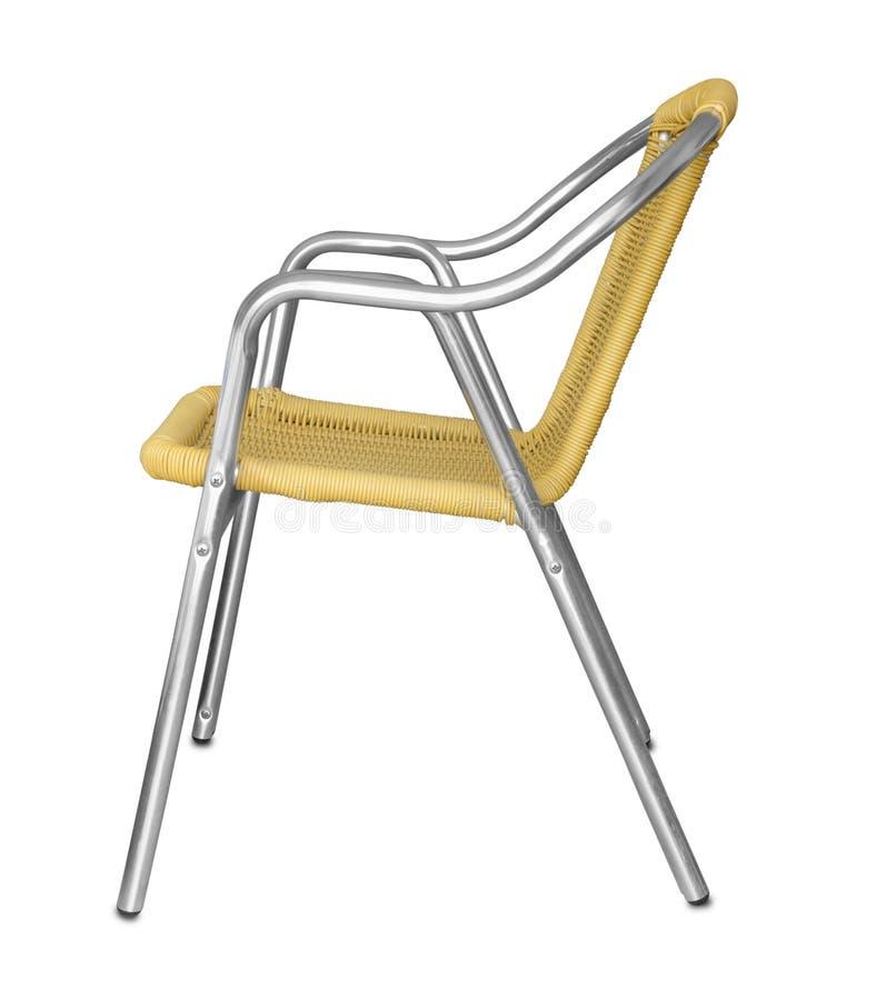 铝椅子侧视图  免版税图库摄影
