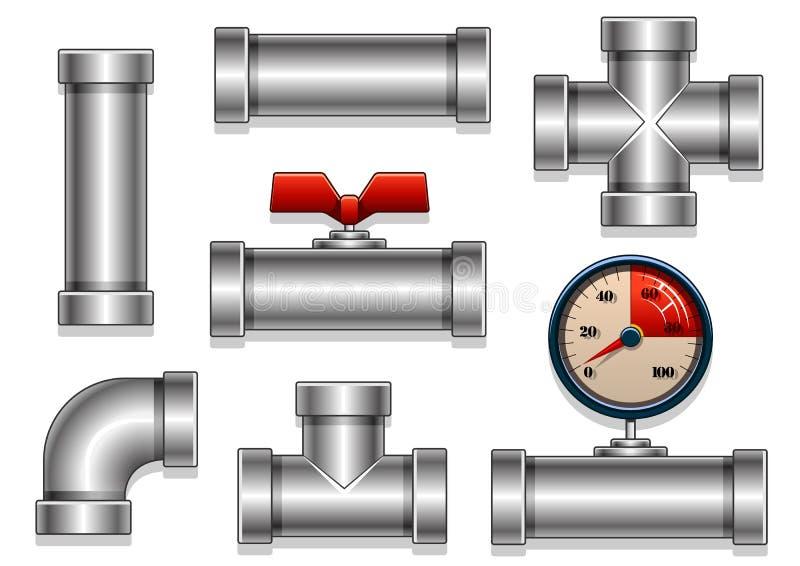 铝用管道输送汇集 向量例证