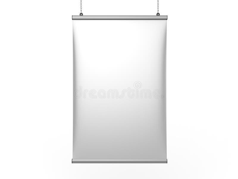 铝短冷期夹子天花板横幅海报挂衣架,垂悬的海报用栏杆围海报挂衣架 3d例证回报 皇族释放例证