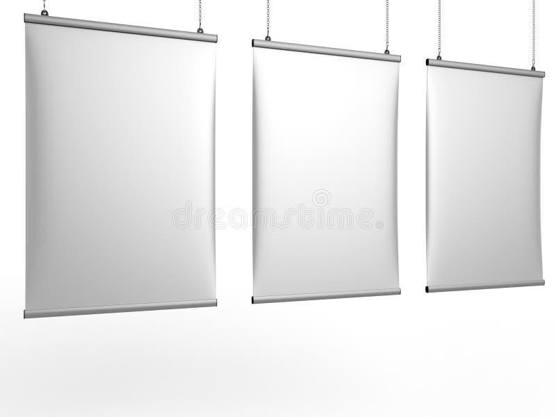 铝短冷期夹子天花板横幅海报挂衣架,垂悬的海报用栏杆围海报挂衣架 3d例证回报 库存例证