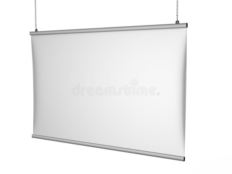 铝短冷期夹子天花板横幅海报挂衣架,垂悬的海报用栏杆围海报挂衣架 3d例证回报 向量例证