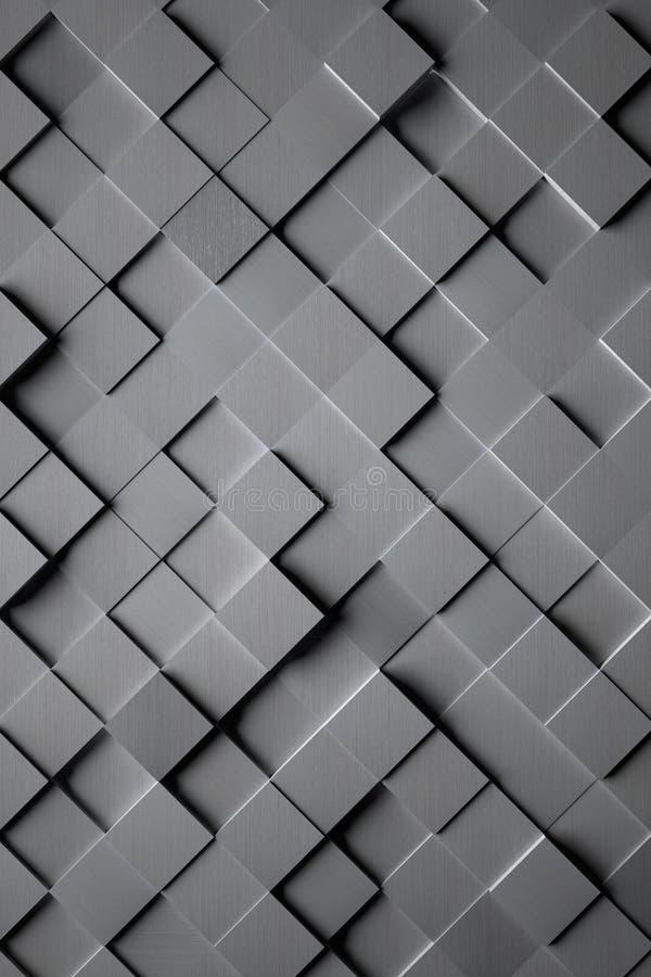 铝立方体瓦片背景 皇族释放例证