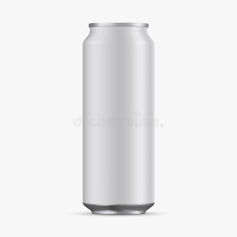 铝罐倒空在白色背景的500ml 库存例证