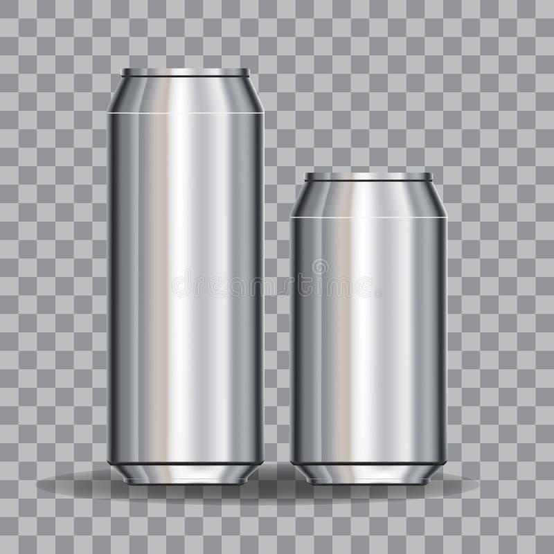 铝罐倒空500和330 ml 在透明度gridfor设计和烙记 背景明亮的例证桔子股票 向量例证