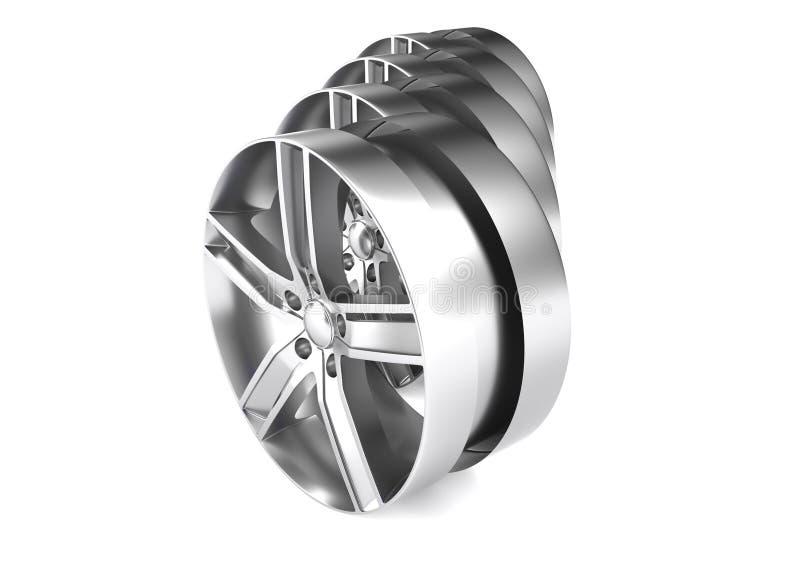 铝轮子图象3D回报优质翻译 白色图片计算汽车的,轨道合金外缘 向量例证