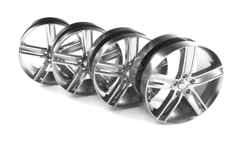 铝轮子图象3D回报优质翻译 白色图片计算汽车的,轨道合金外缘 库存例证
