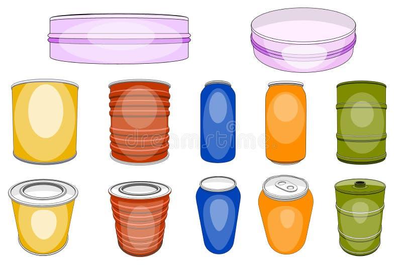 铝锡苏打饮料的色的铝罐或酒精啤酒和空的金属瓶或含有明矾的容器 库存例证