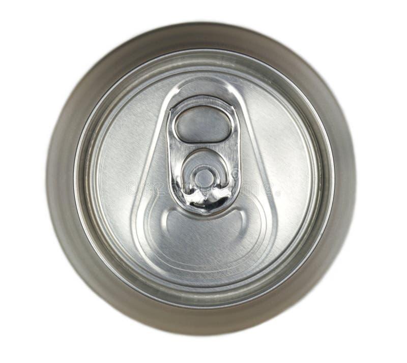 铝饮料罐头,顶视图 免版税库存照片