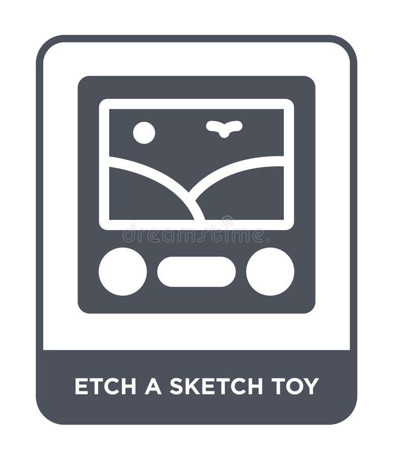 铭刻一个剪影玩具象在时髦设计样式 铭刻在白色背景隔绝的一个剪影玩具象 铭刻一个剪影玩具传染媒介象 库存例证
