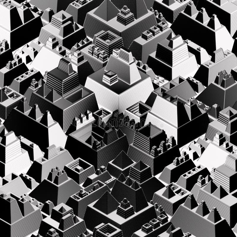 铭刻象未来派城市在黑白 库存例证