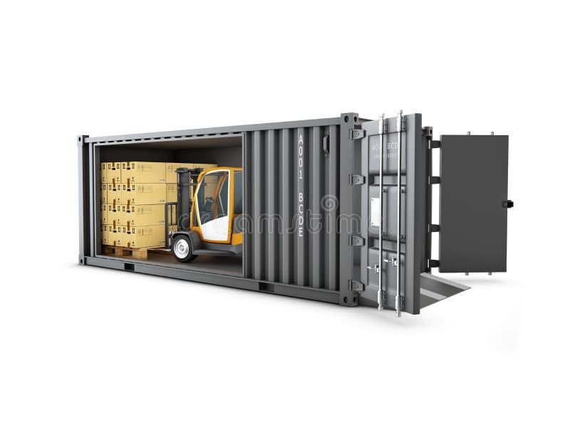铲车与货箱和产品纸盒箱子, 3d一起使用例证 免版税库存图片