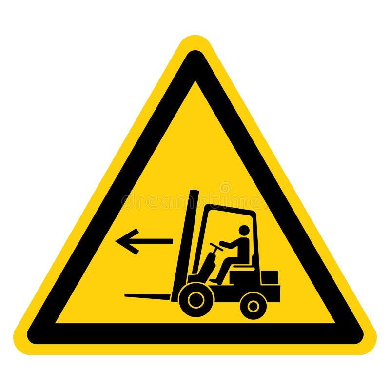 铲车点左标志标志,传染媒介例证,在白色背景标签的孤立 EPS10 向量例证
