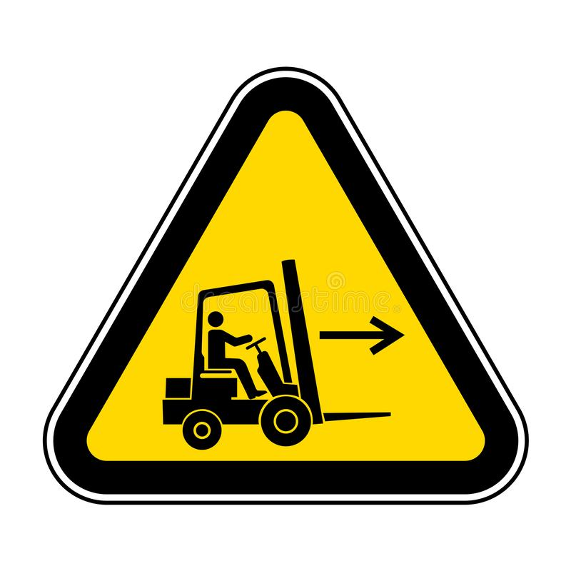 铲车点权利标志在白色背景,传染媒介例证EPS的标志孤立 10 向量例证