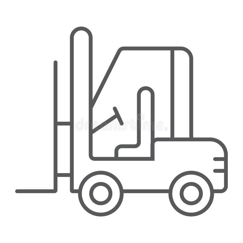 铲车稀薄的线象,汽车和货物,卡车标志,向量图形,在白色背景的一个线性样式 向量例证