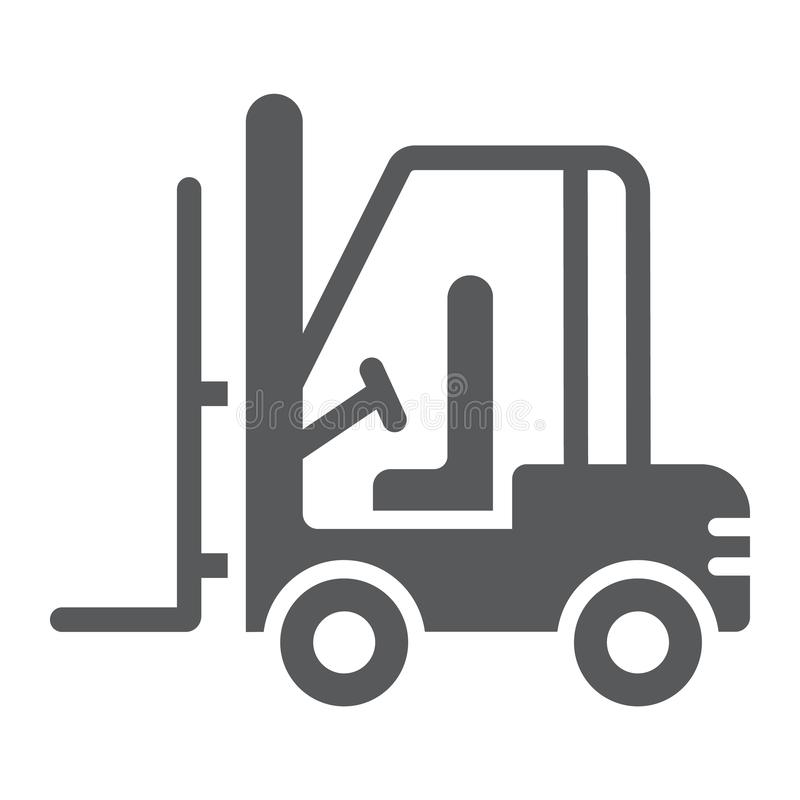 铲车纵的沟纹象、汽车和货物,卡车标志,向量图形,在白色背景的一个坚实样式 向量例证