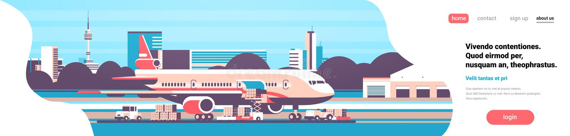 铲车装货小包把准备飞行航空器机场空运货物交付国际运输概念装箱 库存例证