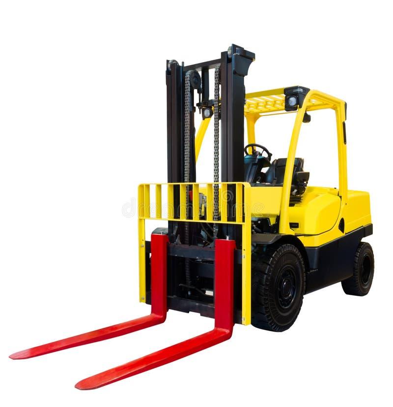 铲车装载者板台堆货机卡车在白色背景隔绝的设备黄色 免版税库存照片