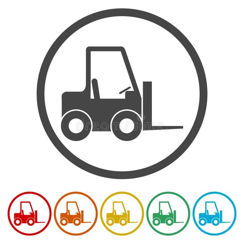铲车象,叉架起货车剪影,包括的6种颜色 皇族释放例证