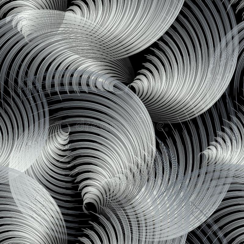 银三维抽象矢量无缝图案 装饰性流动螺旋形背景 线画画面 向量例证