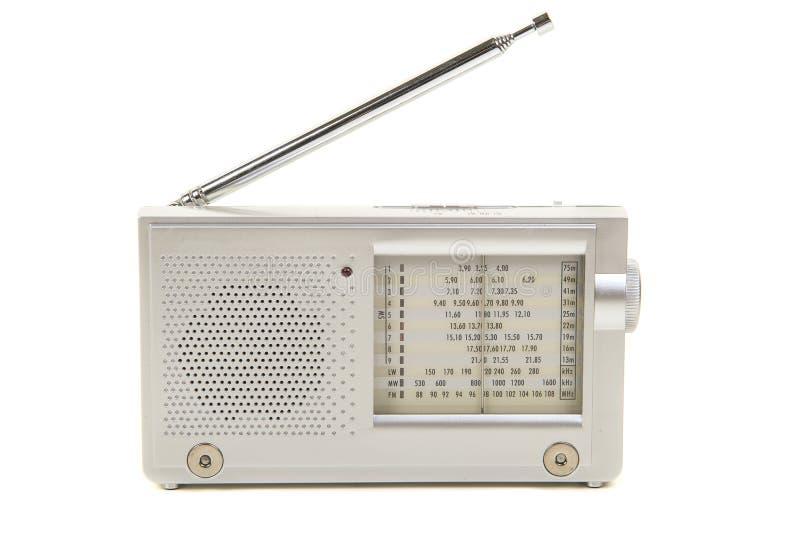 银上色了与天线的小世界收音机在丝毫 库存照片