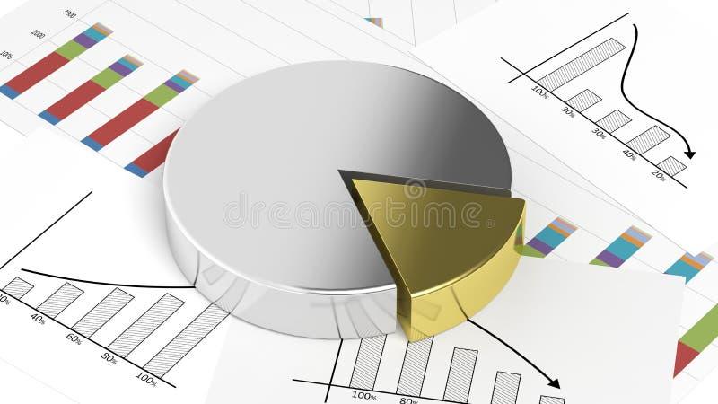 银和金子企业圆形统计图表 库存例证