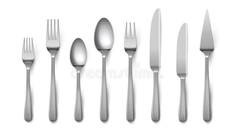 现实利器 银器叉子在白色背景隔绝的刀子匙子,不锈钢碗筷 传染媒介金属上面 向量例证