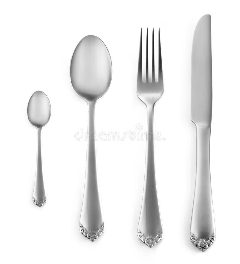 银器设置与叉子、刀子和匙子 免版税库存图片