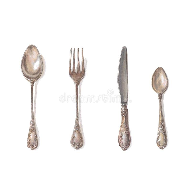 银器:匙子,刀子,服务的桌叉子在葡萄酒样式 向量例证