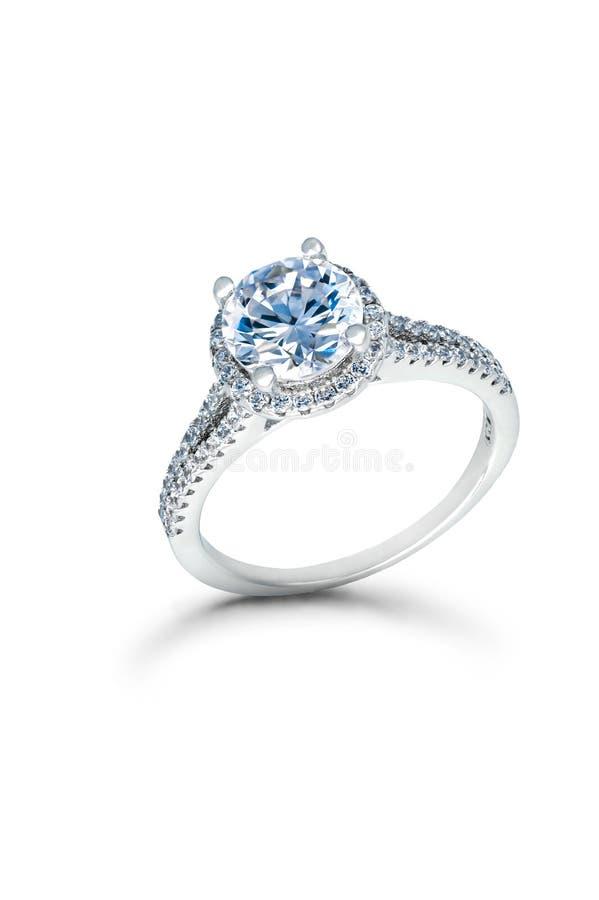 银婚或定婚戒指与蓝色金刚石 免版税图库摄影