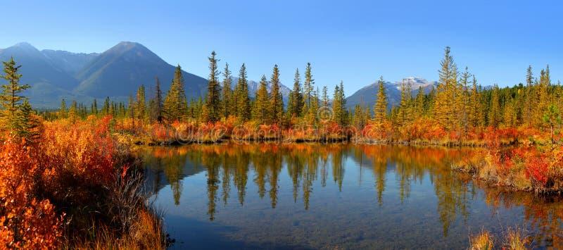 银朱的湖风景在班夫国家公园 免版税库存照片