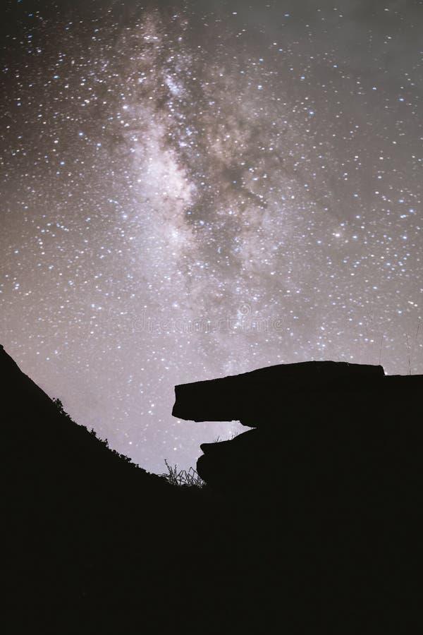 银河与美丽的小山山的夜 银河和山 与山和满天星斗的天空的意想不到的看法在ni 库存图片