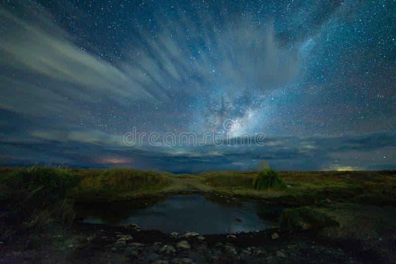 银河在阿塔卡马沙漠 免版税库存图片