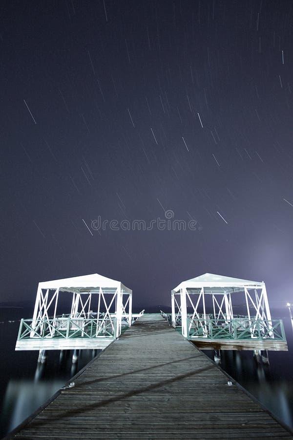 银河的星的看法与山上面的在前景 夜空自然夏天风景 Perseid飞星展示 免版税图库摄影
