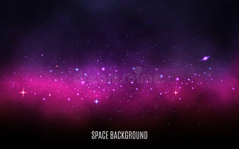 银河背景 桃红色和紫色概念 星尘号和光亮的星 与星云和星的五颜六色的星系 向量例证