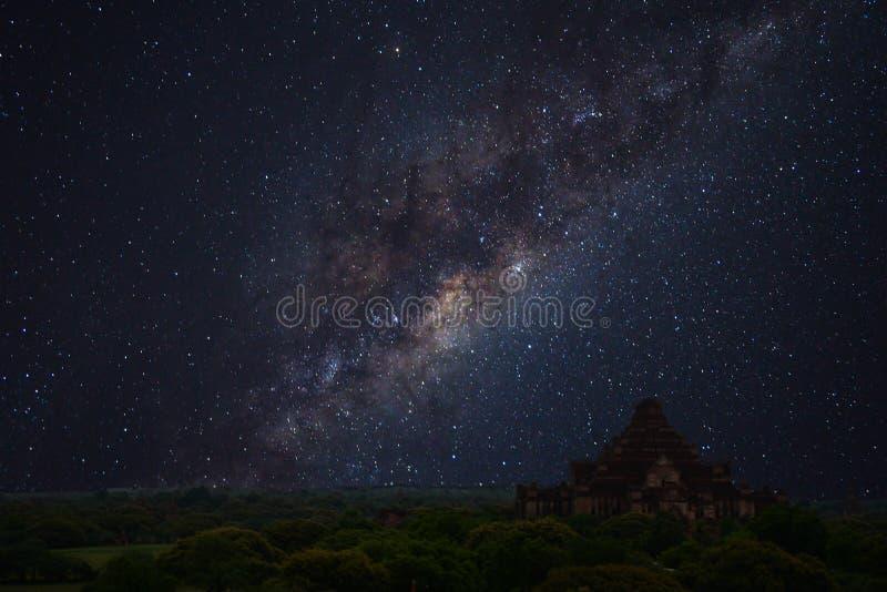 银河,古庙, bagan 库存照片