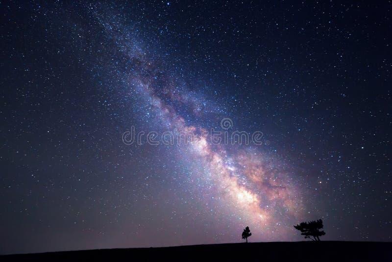 银河 与星的美丽的夏夜天空 背景 免版税图库摄影