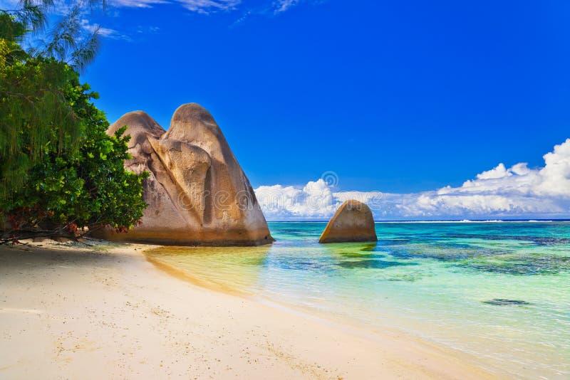 银海滩d塞舌尔群岛来源 免版税库存图片
