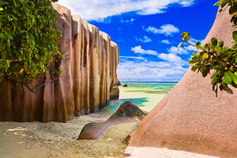 银海滩d塞舌尔群岛来源 库存图片