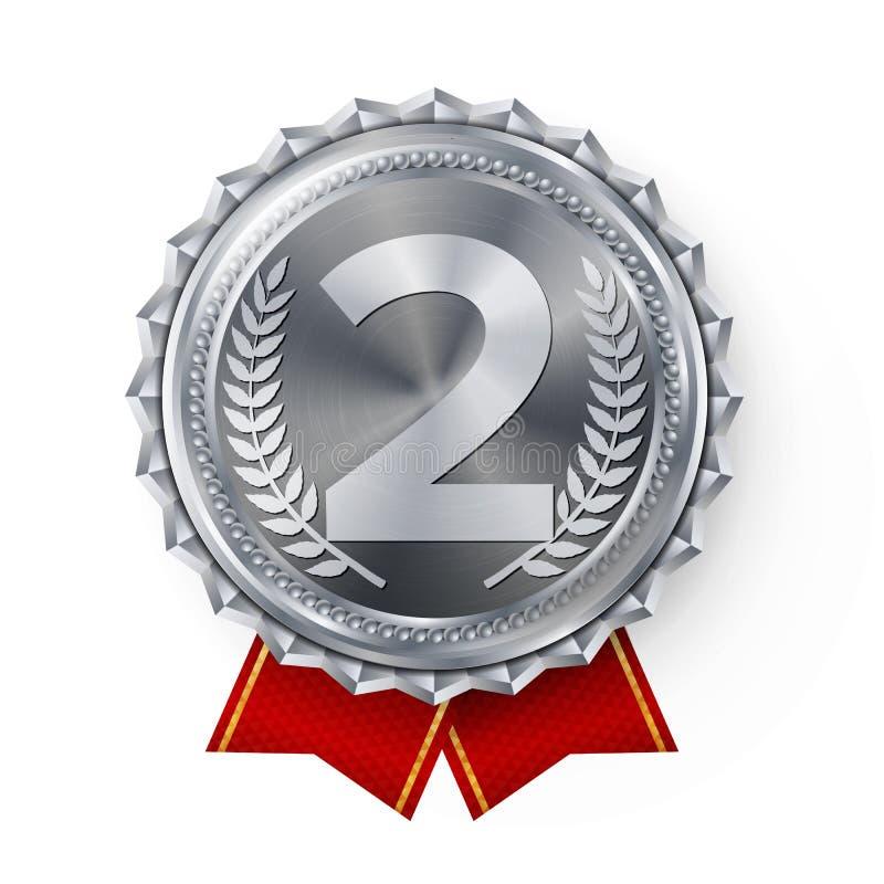 银牌传染媒介 最佳的第一安置 优胜者,冠军,第一 第2个地方成就 金属优胜者奖 向量例证