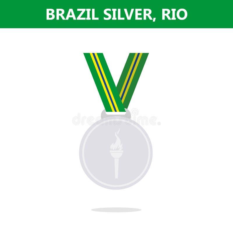 银牌 面包渣 里约 奥运会2016年 也corel凹道例证向量 平的样式 向量例证